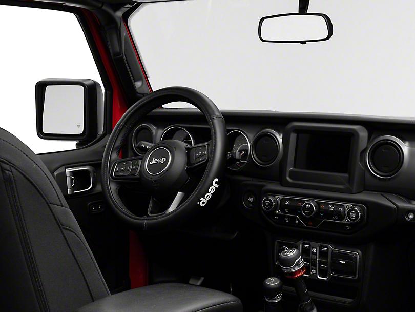 Alterum Jeep Logo Speed Grip Steering Wheel Cover - Black (87-19 Jeep Wrangler YJ, TJ, JK & JL)