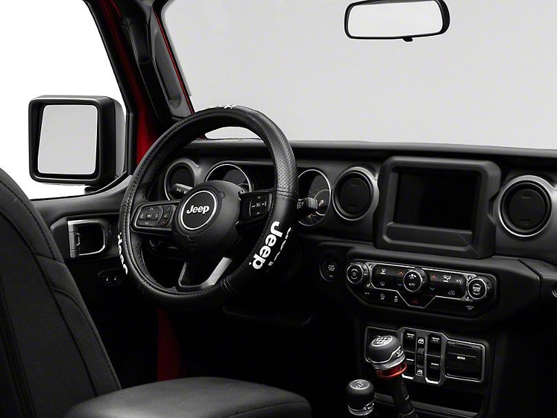 Alterum Jeep Logo Elite Series Speed Grip Steering Wheel Cover - Black (87-18 Jeep Wrangler YJ, TJ, JK & JL)