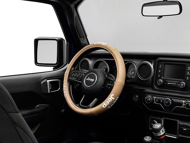 Alterum Elite Series Speed Grip Steering Wheel Cover with Jeep Logo; Tan (87-20 Jeep Wrangler YJ, TJ, JK & JL)