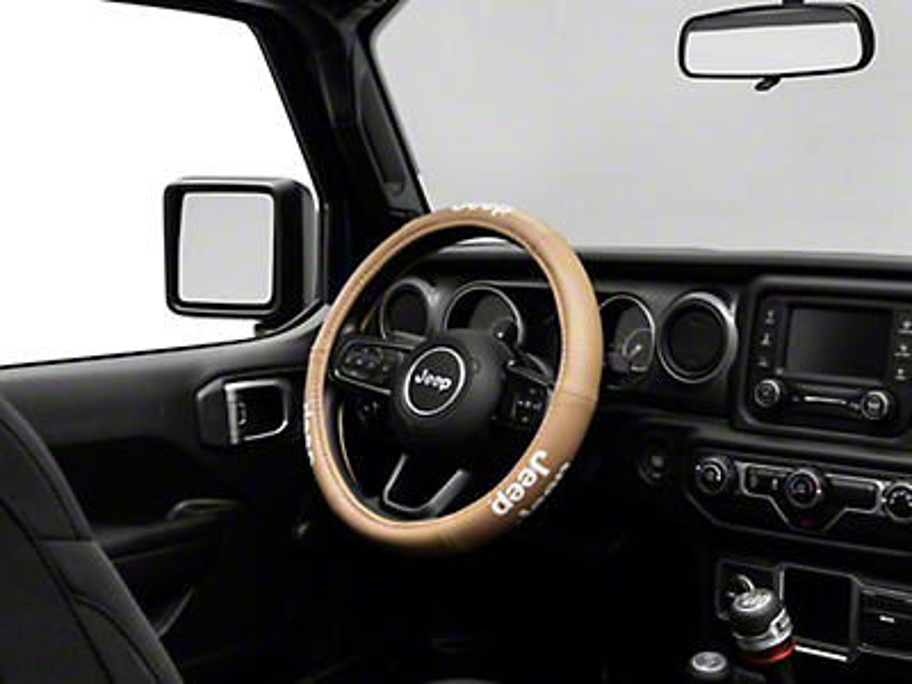 Alterum Jeep Logo Elite Series Speed Grip Steering Wheel Cover - Tan (87-18 Jeep Wrangler YJ, TJ, JK & JL)