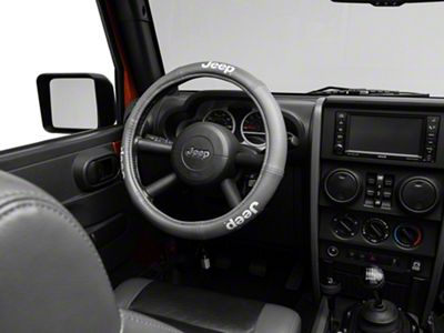 Alterum Jeep Logo Elite Series Speed Grip Steering Wheel Cover - Gray (87-19 Jeep Wrangler YJ, TJ, JK & JL)