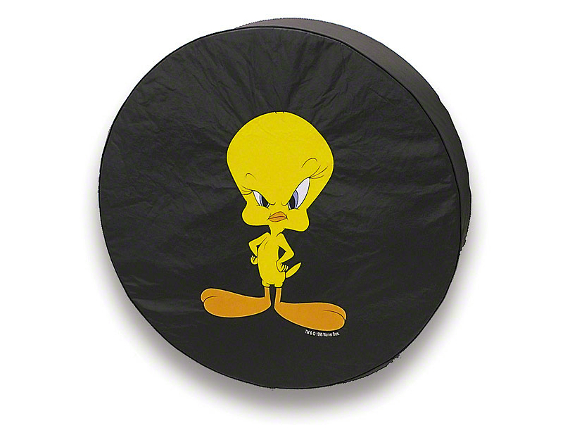 26.5-31 in. Serious Face Tweety Spare Tire Cover - Black (87-19 Jeep Wrangler YJ, TJ, JK & JL)