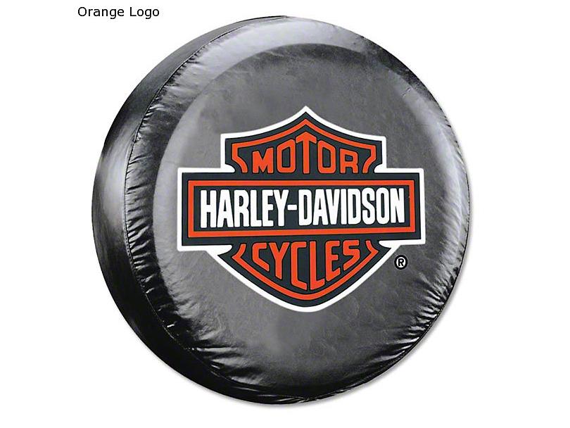 26.5-31 in. Harley Davidson Spare Tire Cover - Black (87-20 Jeep Wrangler YJ, TJ, JK & JL)