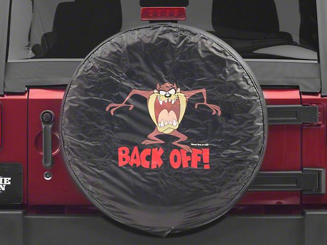 26.5-31 in. Taz Back Off Spare Tire Cover - Black (87-20 Jeep Wrangler YJ, TJ, JK & JL)