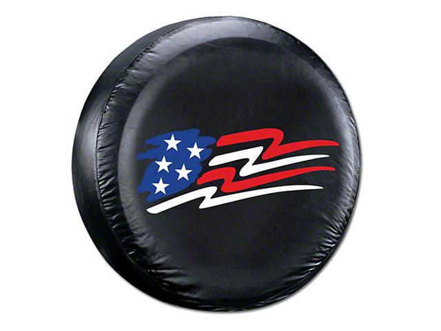 26.5-31 in. American Flag Spare Tire Cover - Black (87-19 Jeep Wrangler YJ, TJ, JK & JL)