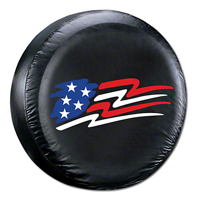 Alterum 26.5-31 in. American Flag Spare Tire Cover - Black (87-18 Jeep Wrangler YJ, TJ, JK & JL)