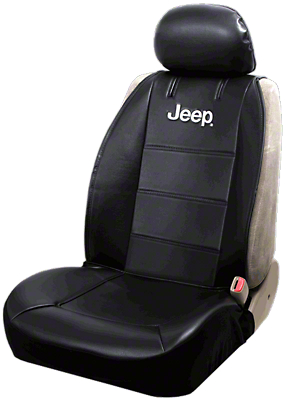 Alterum Jeep Logo Sideless Seat Cover - Black (87-18 Jeep Wrangler YJ, TJ, JK & JL)