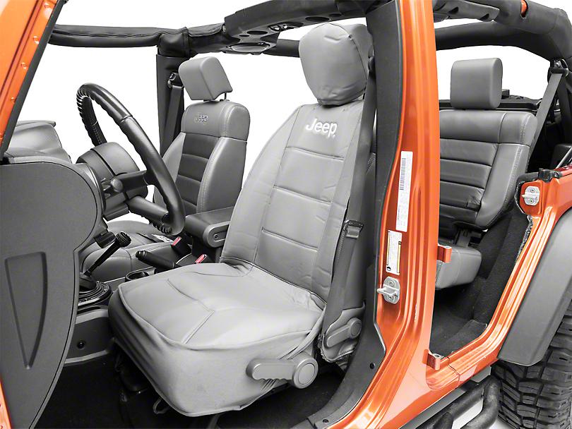 Alterum Jeep Logo Sideless Seat Cover - Gray (87-18 Jeep Wrangler YJ, TJ, JK & JL)