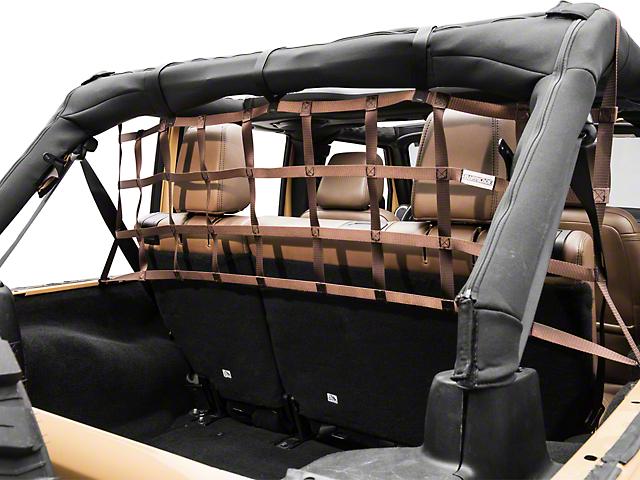 Aspen Rear Pet Barrier Net - Brown (07-18 Jeep Wrangler JK 4 Door)