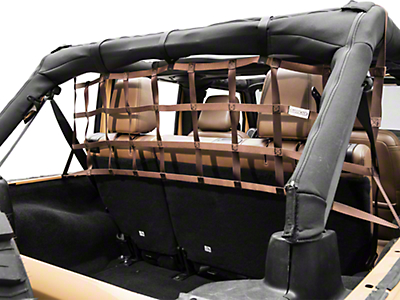 Aspen Rear Pet Barrier Net - Brown (07-18 Jeep Wrangler JK 4 Door)