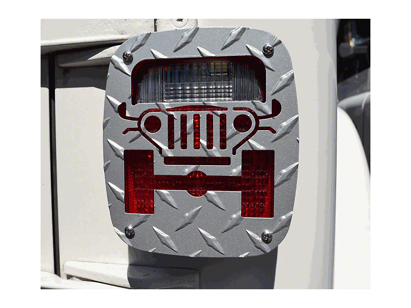 Jeep Tweaks Silver Tail Light Guards - Jeep Wrangler Design (87-06 Jeep Wrangler YJ & TJ)