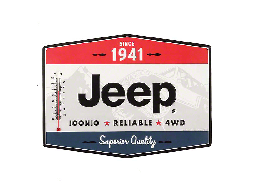 Jeep Iconic Reliable 4WD Tin Thermometer Sign