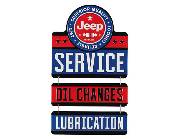 Jeep Service-Oil Change Linked Metal Sign