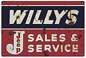 Willys Jeep Sales and Service Sign