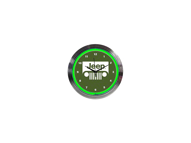 Jeep Wrangler Grille Green Neon Clock