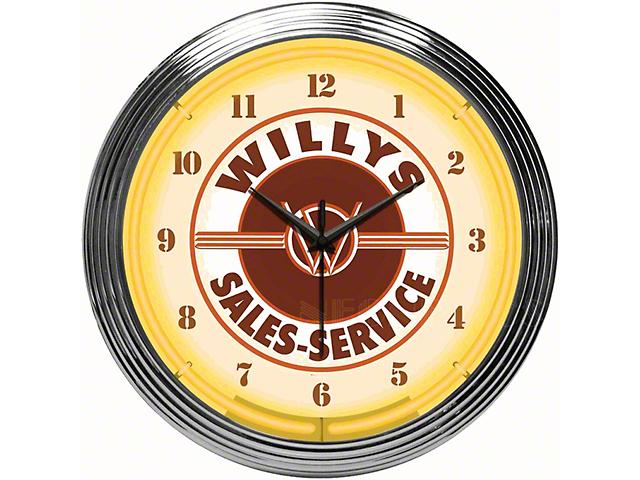 Willys Sales Service Jeep Neon Clock