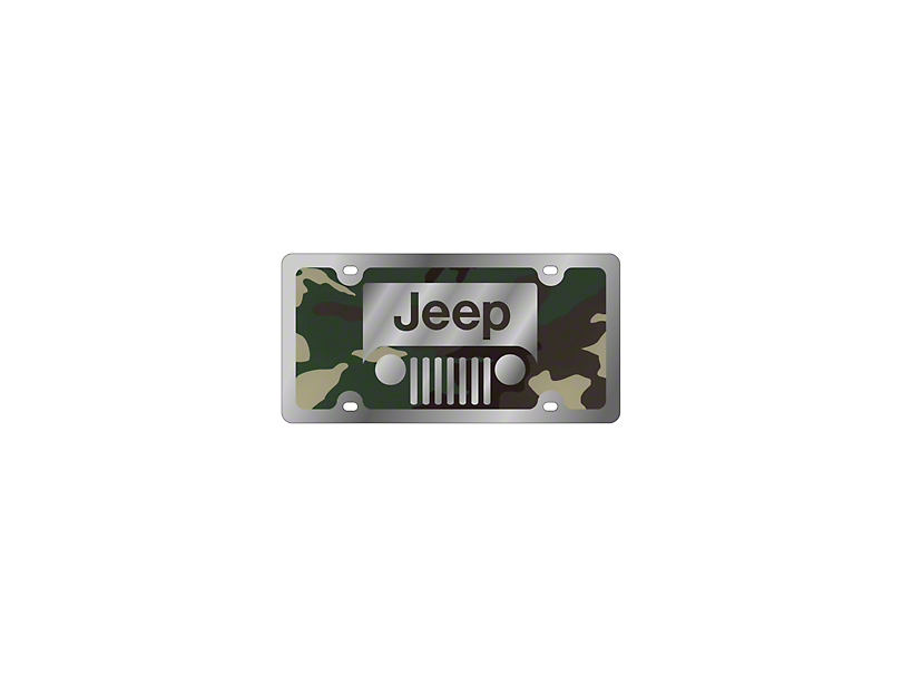 Jeep Wrangler Grille License Plate - Green Camouflage