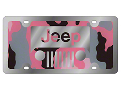 Jeep Wrangler Grille License Plate Pink Camouflage 34 99
