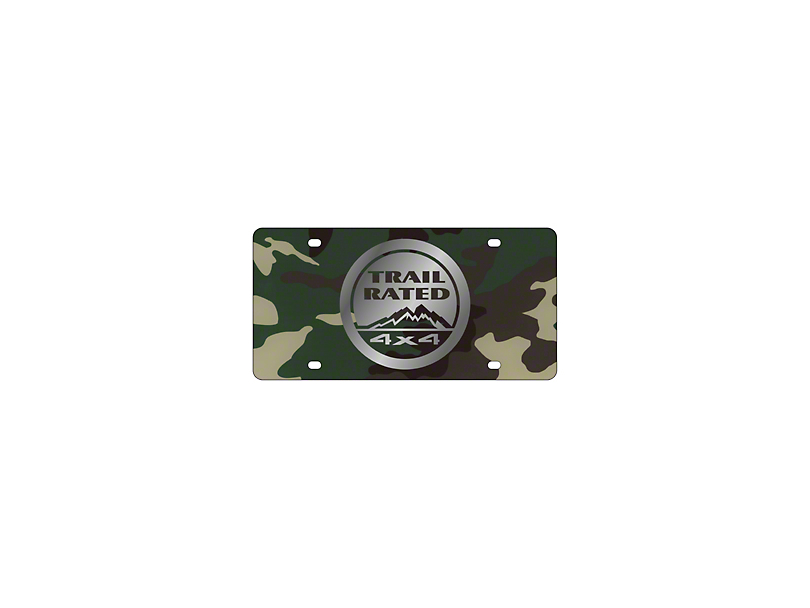 Mirror Finish Trail Rated 4x4 License Plate - Green Camouflage