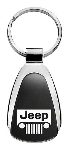 Jeep Grille Keychain & Keyring - Black Teardrop