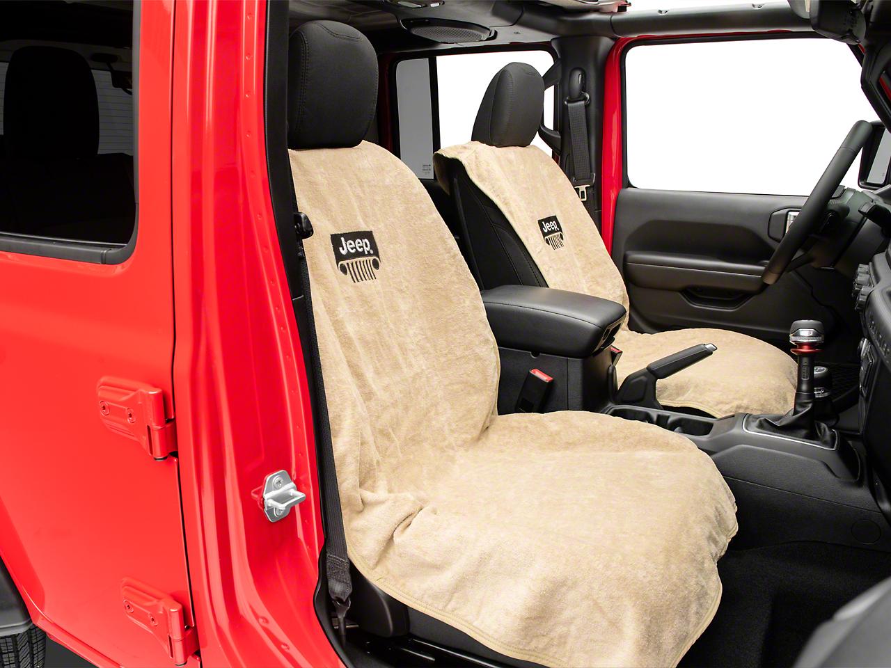 Seat Armour Jeep Wrangler Grille Seat Towel - Tan (87-18 Jeep Wrangler YJ, TJ, JK & JL)