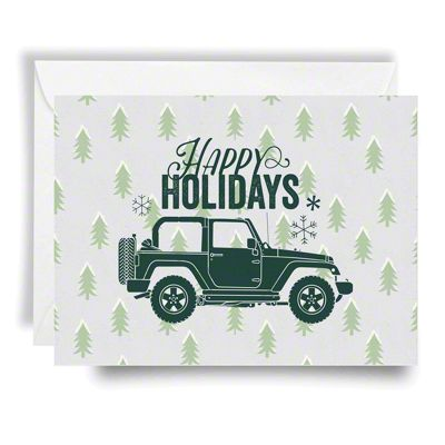 graphic relating to Happy Holidays Printable Card identified as Jeep Family vacation Card Delighted Vacations - Inexperienced Print