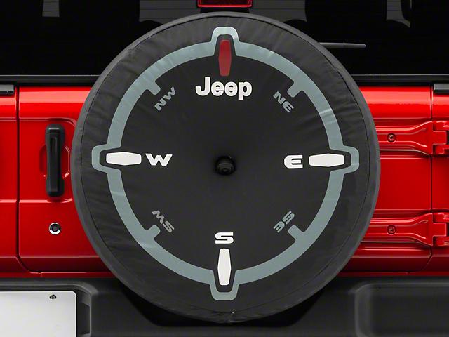 Mopar 32 in. Compass Design Spare Tire Cover - Black (2018 Jeep Wrangler JL)