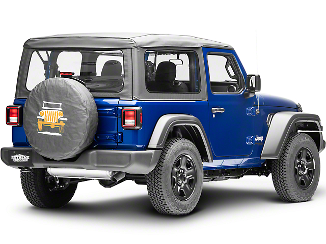 Mopar 32 in. Cartooned Jeep Wrangler Spare Tire Cover - Black Denim (87-19 Jeep Wrangler YJ, TJ, JK & JL)