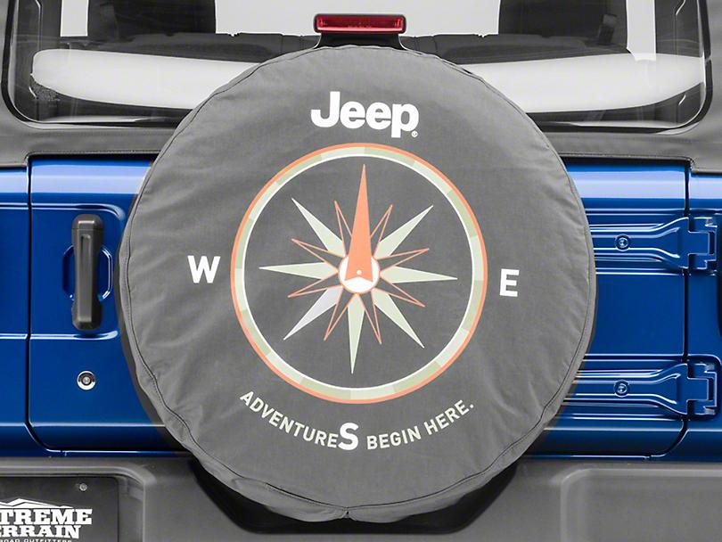 Mopar Adventures Begin Here Spare Tire Cover - Denim (87-19 Jeep Wrangler YJ, TJ, JK & JL)