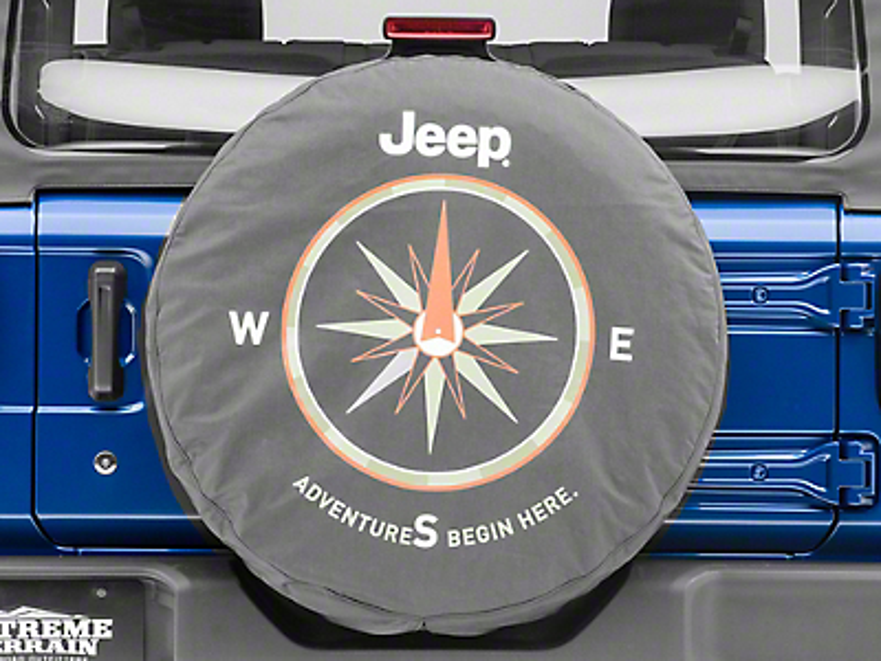 Mopar Adventures Begin Here Spare Tire Cover - Denim (87-18 Jeep Wrangler YJ, TJ, JK & JL)