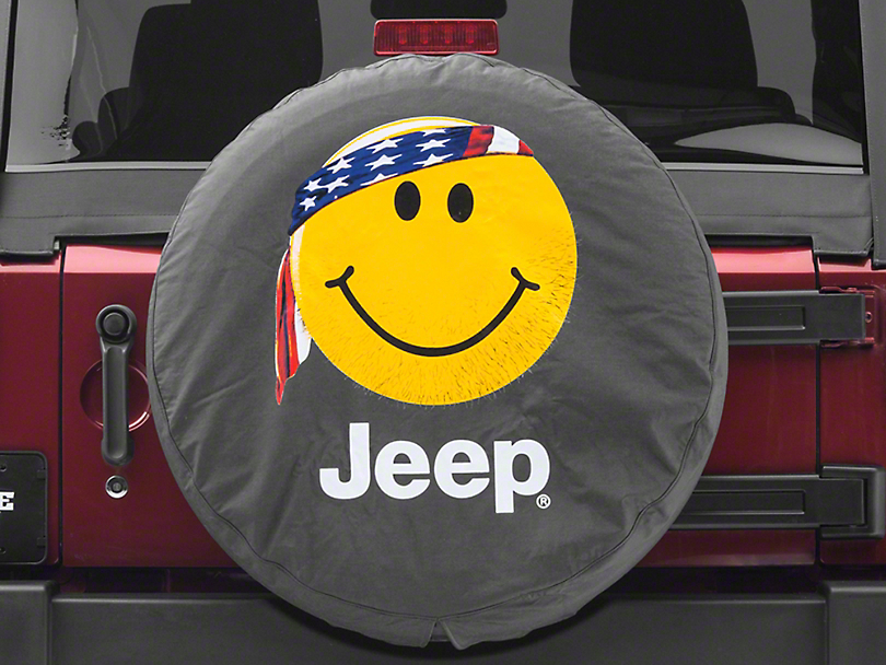 Mopar Smiley Face with Bandana Jeep Spare Tire Cover (87-19 Jeep Wrangler YJ, TJ, JK & JL)