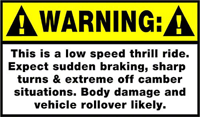 Warning Low Speed Thrill Ride Decal