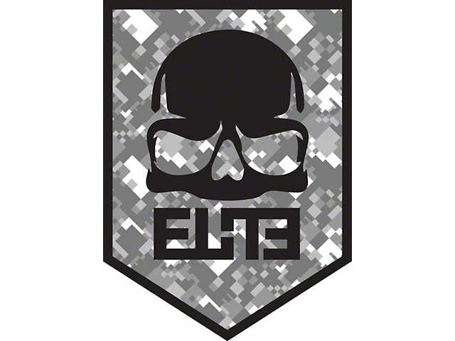 ELiTE Skull Badge Decal - Gray Digital Camo
