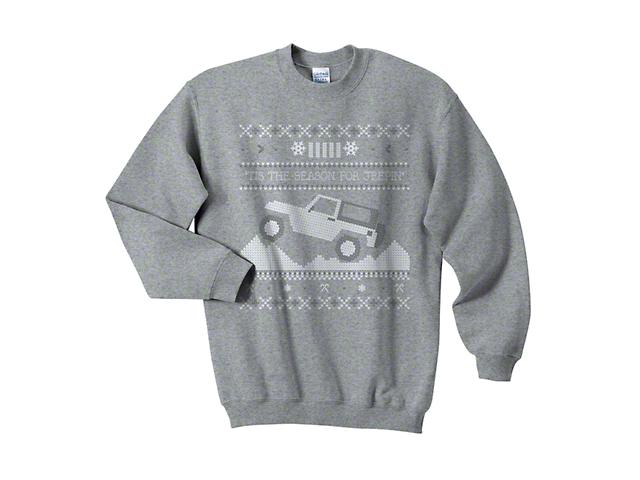 Adult Tis the Season for Jeepin Christmas Crewneck Sweater - Gray