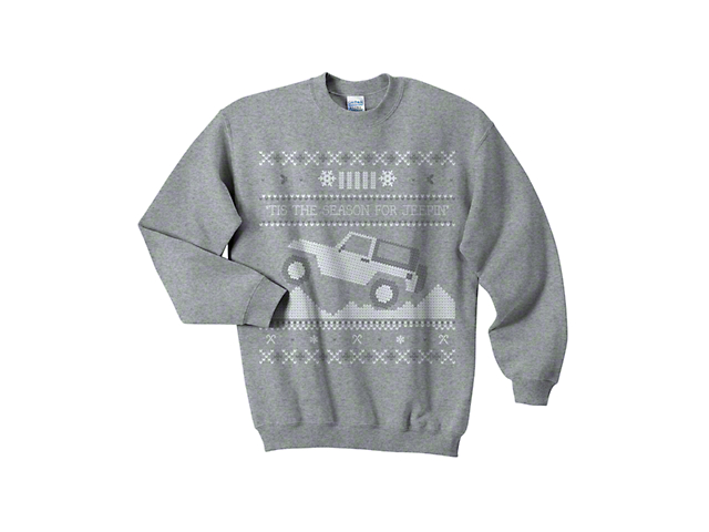 Youth Tis the Season for Jeepin Christmas Crewneck Sweater; Gray