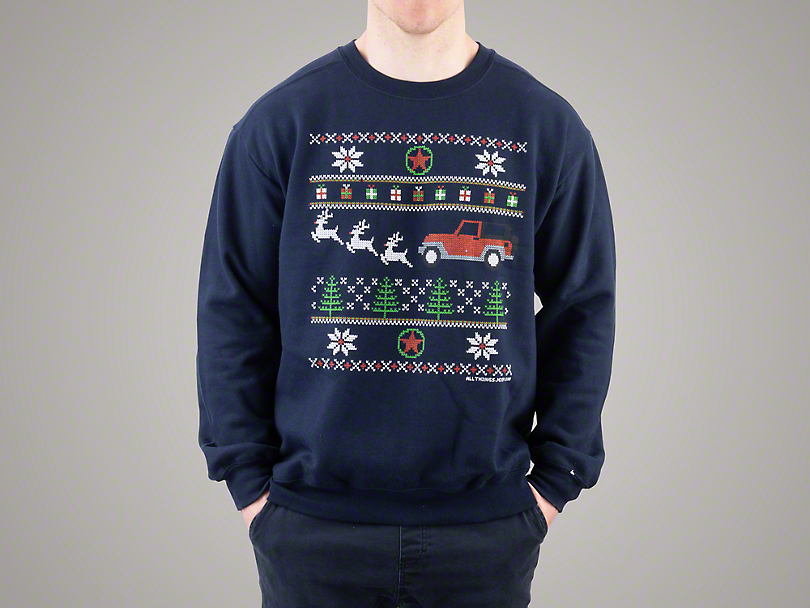 Adult Jeep Christmas Crewneck Sweater - Navy