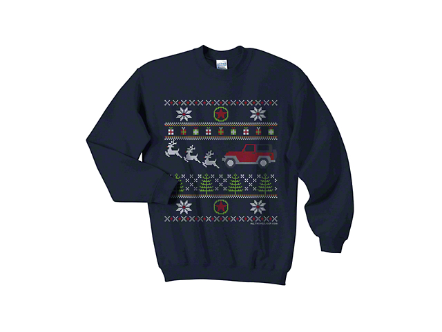 Youth Jeep Christmas Crewneck Sweater - Navy