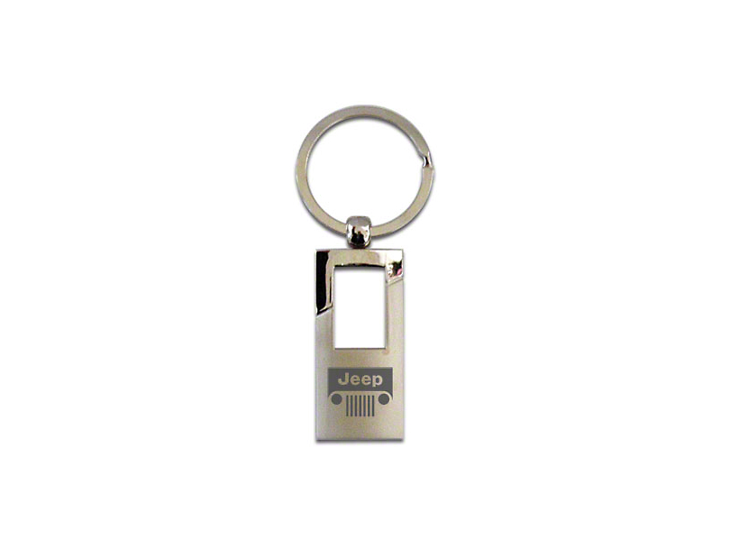 FOB Rectangle Keychain with Compass Logo; Chrome