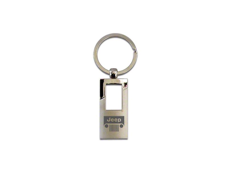 FOB Rectangle Keychain with Patriot Logo; Chrome