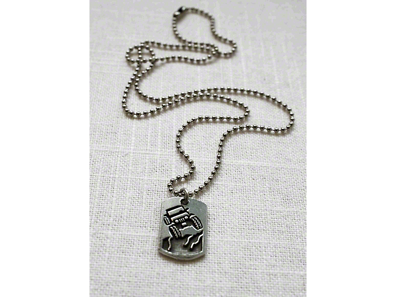 Jeep Pewter Pendant Necklace w/ 18 in. Ball Chain