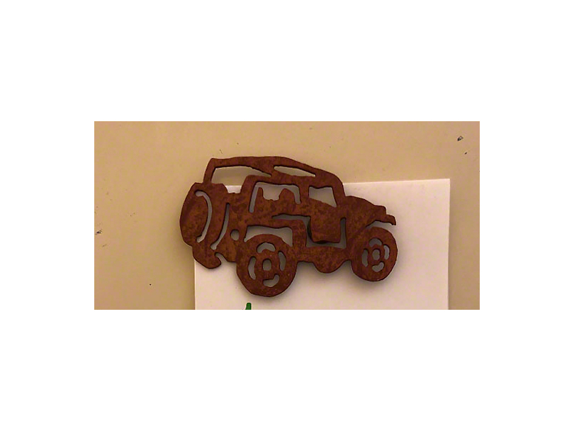 Rustic Metal Jeep Magnet - Topless with Rollbar