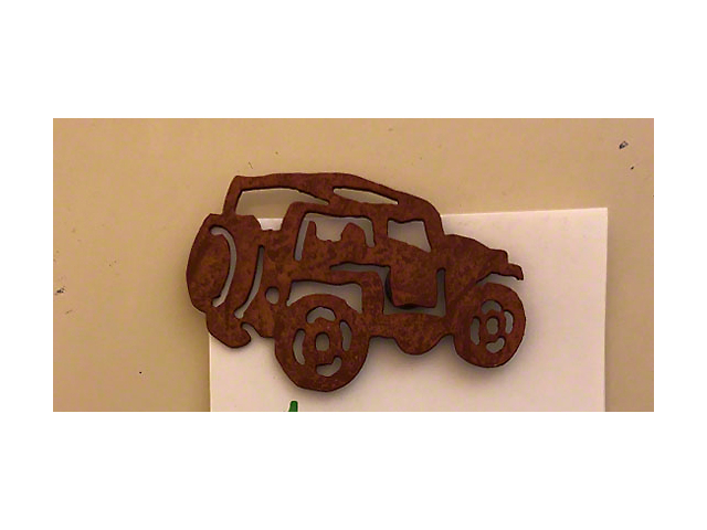 Rustic Metal Jeep Magnet; Topless with Rollbar