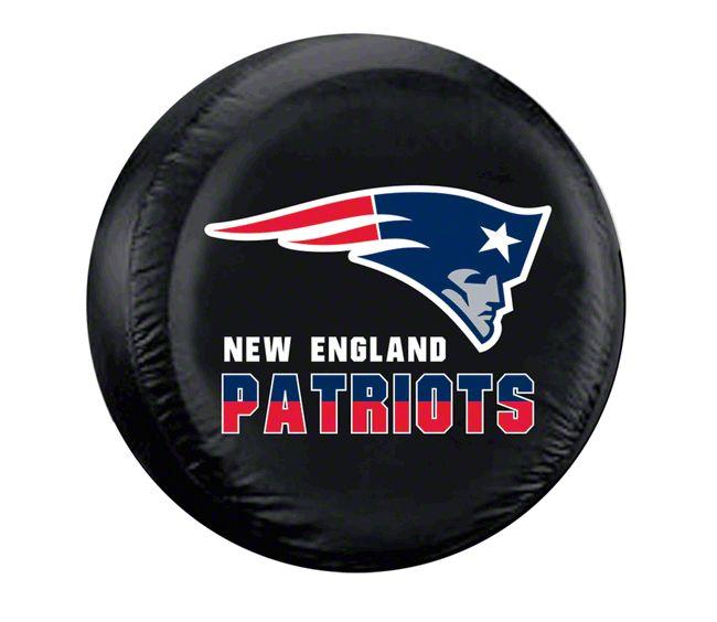 New England Patriots NFL Spare Tire Cover - Black - Large (87-19 Jeep Wrangler YJ, TJ, JK & JL)
