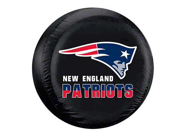 New England Patriots NFL Spare Tire Cover - Black (87-20 Jeep Wrangler YJ, TJ, JK & JL)