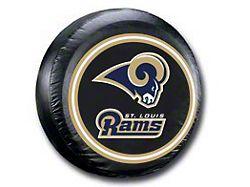 Los Angeles Rams NFL Spare Tire Cover; Black (66-18 Jeep CJ5, CJ7, Wrangler YJ, TJ & JK)