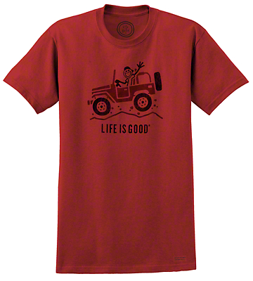 Life is Good Mens Off Road Greeting Nantucket Red T-Shirt - XL