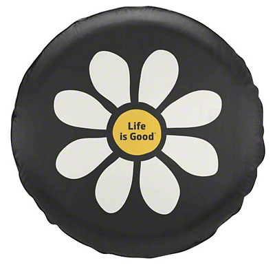 Life is Good 28 in. New Daisy Spare Tire Cover (87-18 Jeep Wrangler YJ, TJ, JK & JL)