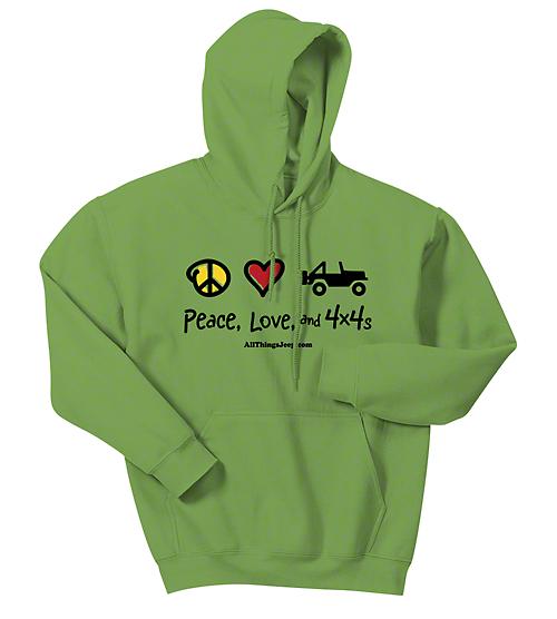 Adult Peace, Love & 4x4 Hoodie - Kiwi Green