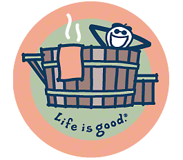 Life is Good Jake in Hot Tub Sticker