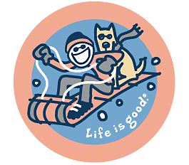 Life is Good Go with the Snow Sledding Sticker